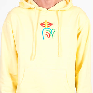 The Quiet Life Rainbow Shhh Hoodie Yellow Logo