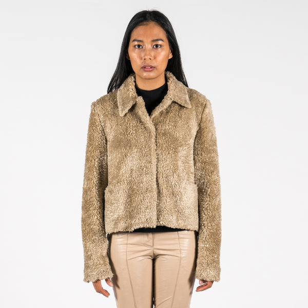 hien le Fake Fur Aviator Teddy Jacket Louise front closed