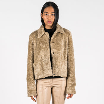 hien le Fake Fur Aviator Teddy Jacket Louise front