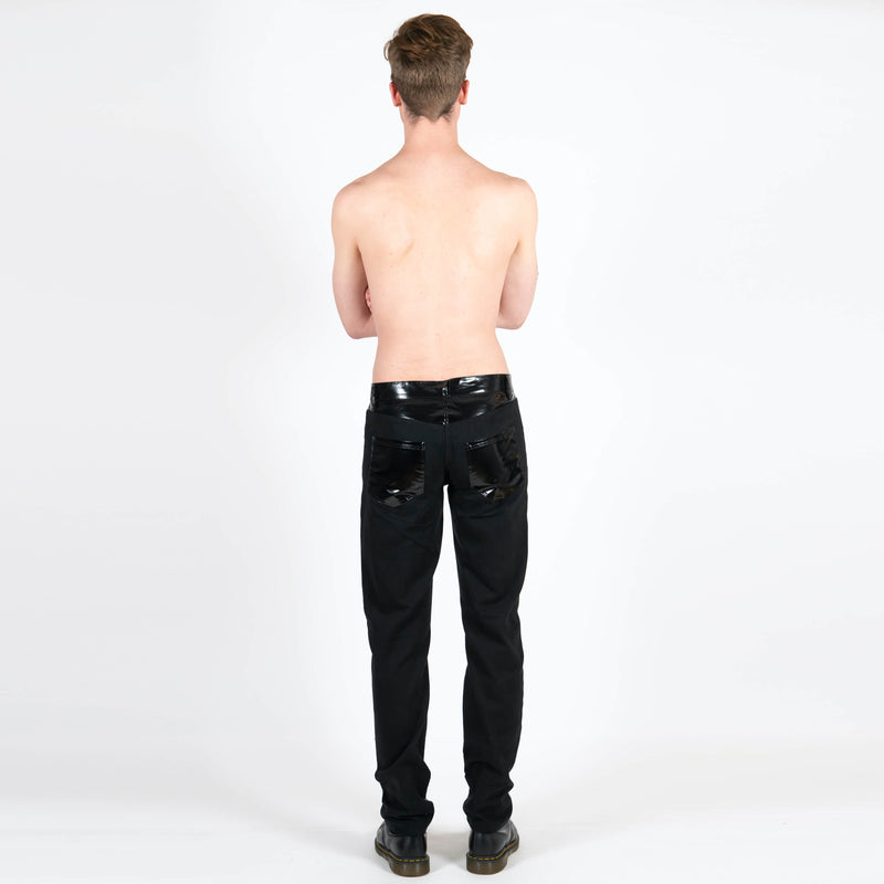 x Samizdat Black Vinyl Five Pocket Trousers