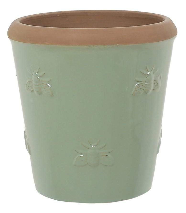 Woodlodge Planters & Pots Green with Brown Trim / 20cm Bumble Bee Planter