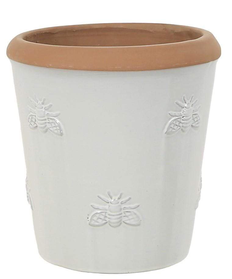 Woodlodge Planters & Pots White with Brown Trim / 20cm Bumble Bee Planter