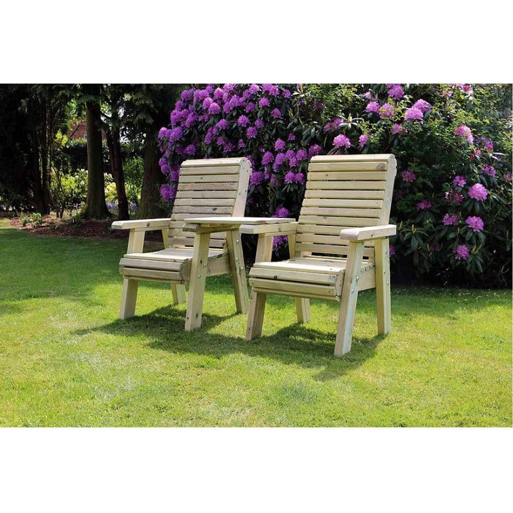 Churnet Valley Garden Furniture Set Churnet Valley Ergo Love Seat With Square Tray