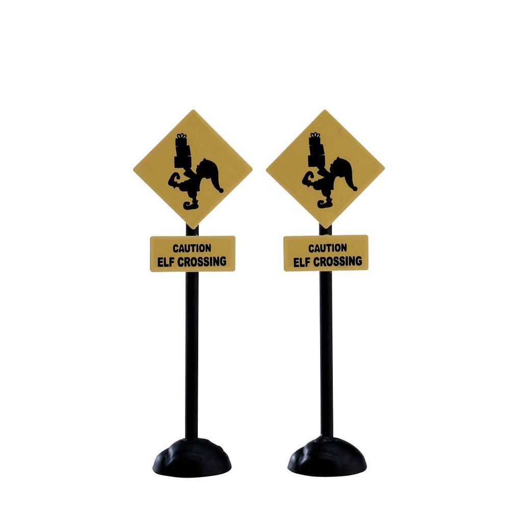Lemax Accessory Lemax Christmas Village Accessory, Elf Crossing Sign, Set of 2