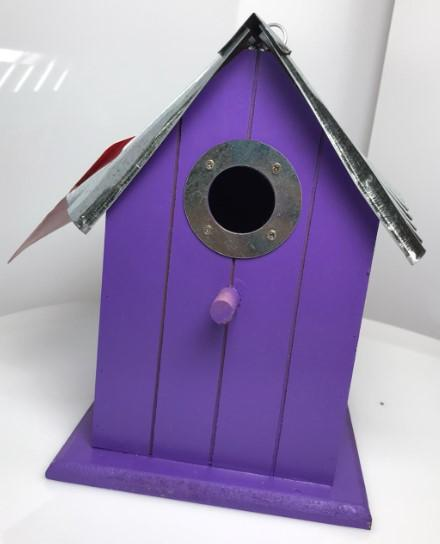 Panacea Nest Boxes Purple Wild Bird Nest Box / Birdhouse Wood with corrugated roof - 6 Various Colours