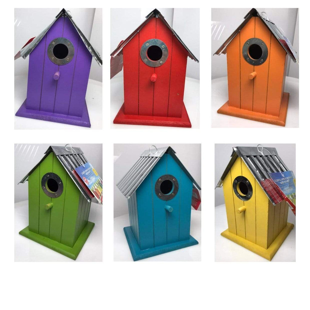 Panacea Nest Boxes Wild Bird Nest Box / Birdhouse Wood with corrugated roof - 6 Various Colours