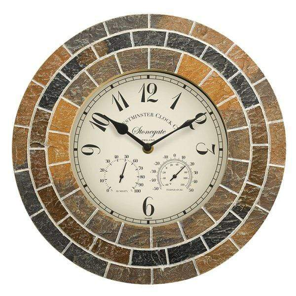 "Smart Garden Clocks Smart Garden 14"" Stonegate Mosaic Clock & Thermometer"