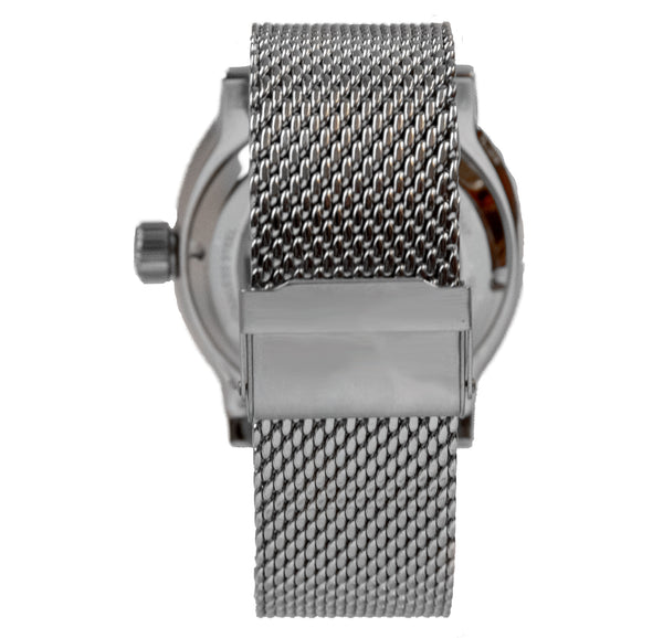 The clasp of our stainless steel mesh metal bracelet.