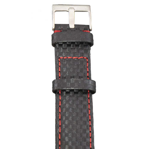 This watch strap is made of carbon fiber that is applied and sewn onto leather with red stitching.