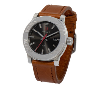 Charcoal Brown Watch with a Sunray Dial by Diefendorff | Swiss Movement