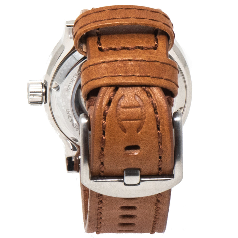 A look at the tan leather strap when it's buckled from behind the Diefendorff watch.