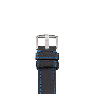 This Black vegetable dyed leather has Blue Stitching | Made in the USA - Diefendorff Watches