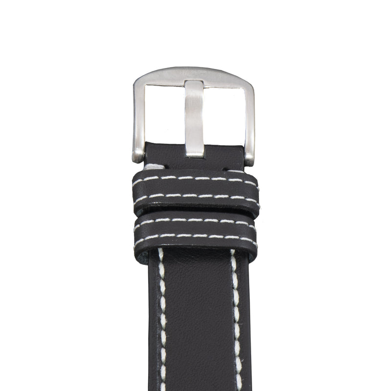 Buckle of the Diefendorff black vegetable dyed leather watch strap with white or cream stitching.