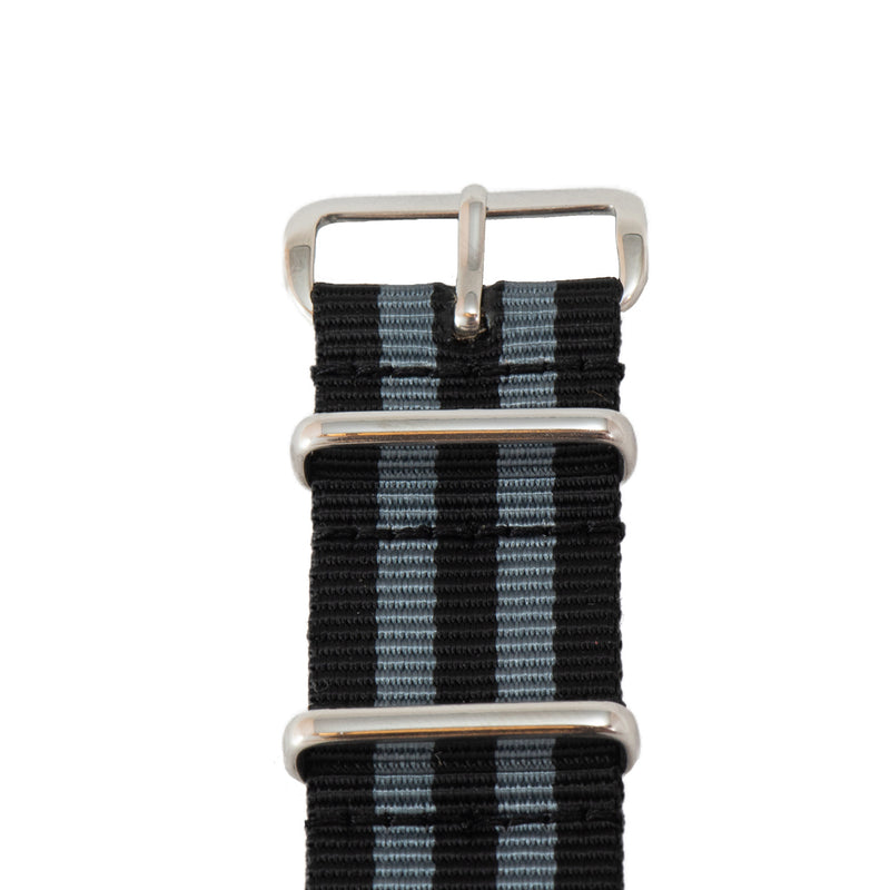 This is a black and gray stripe NATO watch band