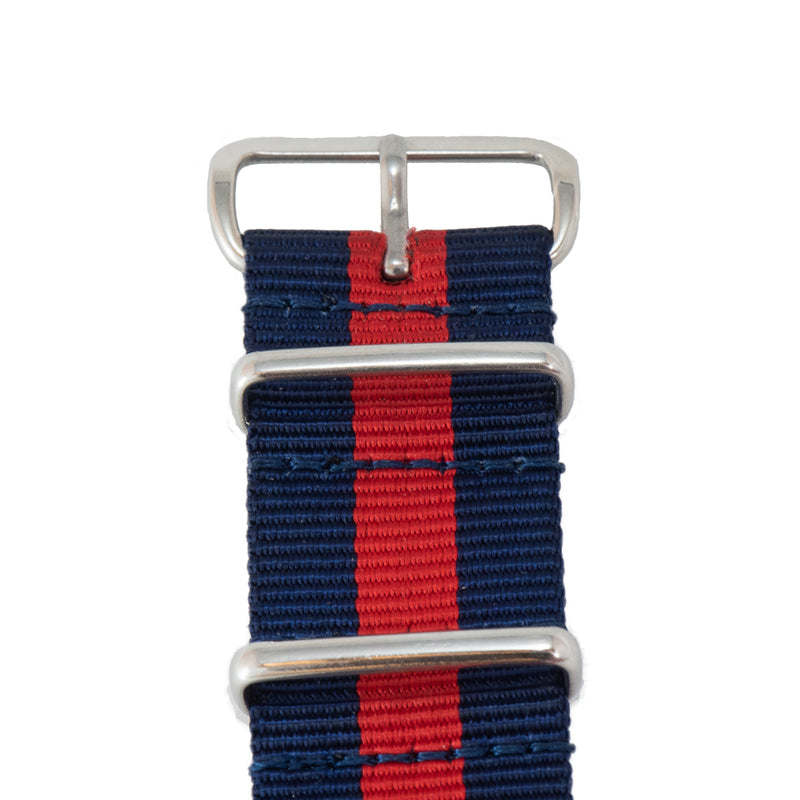 This NATO band is blue and red and goes great with all of Diefendorff's watches, but especially the Federal Blue.