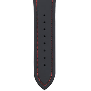 This silicone watch strap is black with red stitching and holds up to water - whether a pool, hot tub, ocean or shower - very well.