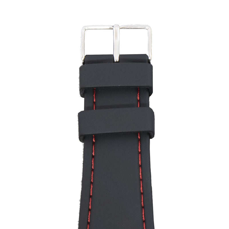 This black and red watch strap is made of silicone, so it natural repels water and is great for those who are mermaids or otherwise wish they were.
