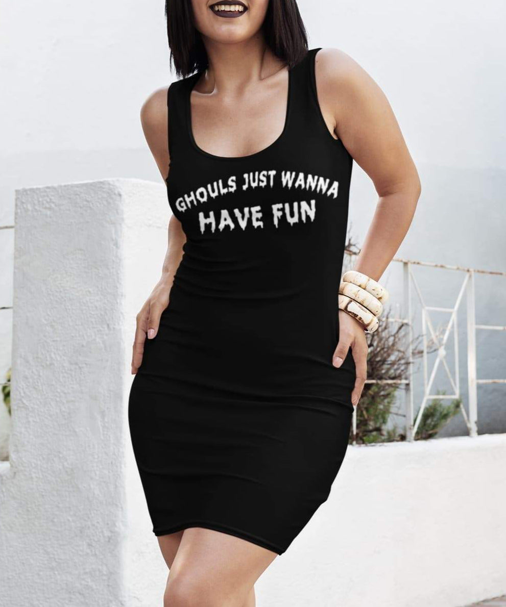 Black dress saying ghouls Just Wanna Have Fun Dress - HighCiti