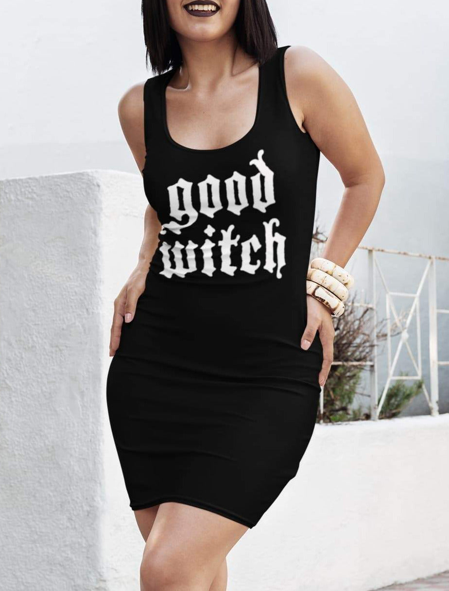 Black dress saying good witch - HighCiti
