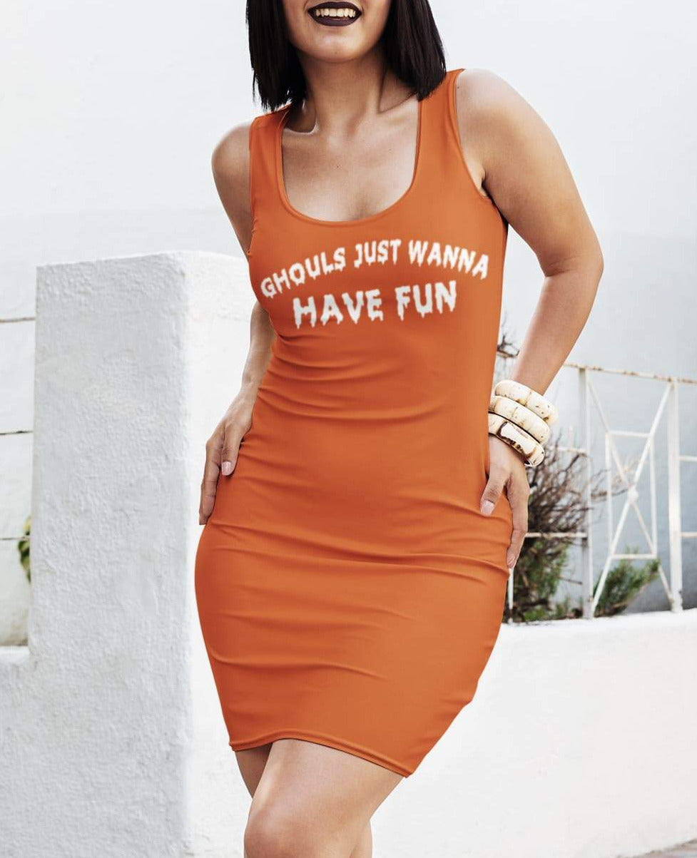 Orange dress saying ghouls Just Wanna Have Fun Dress - HighCiti