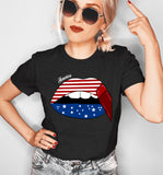 Black shirt with america lips - HighCiti