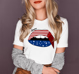 White shirt with america lips - HighCiti