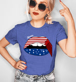 Roayl blue shirt with america lips - HighCiti