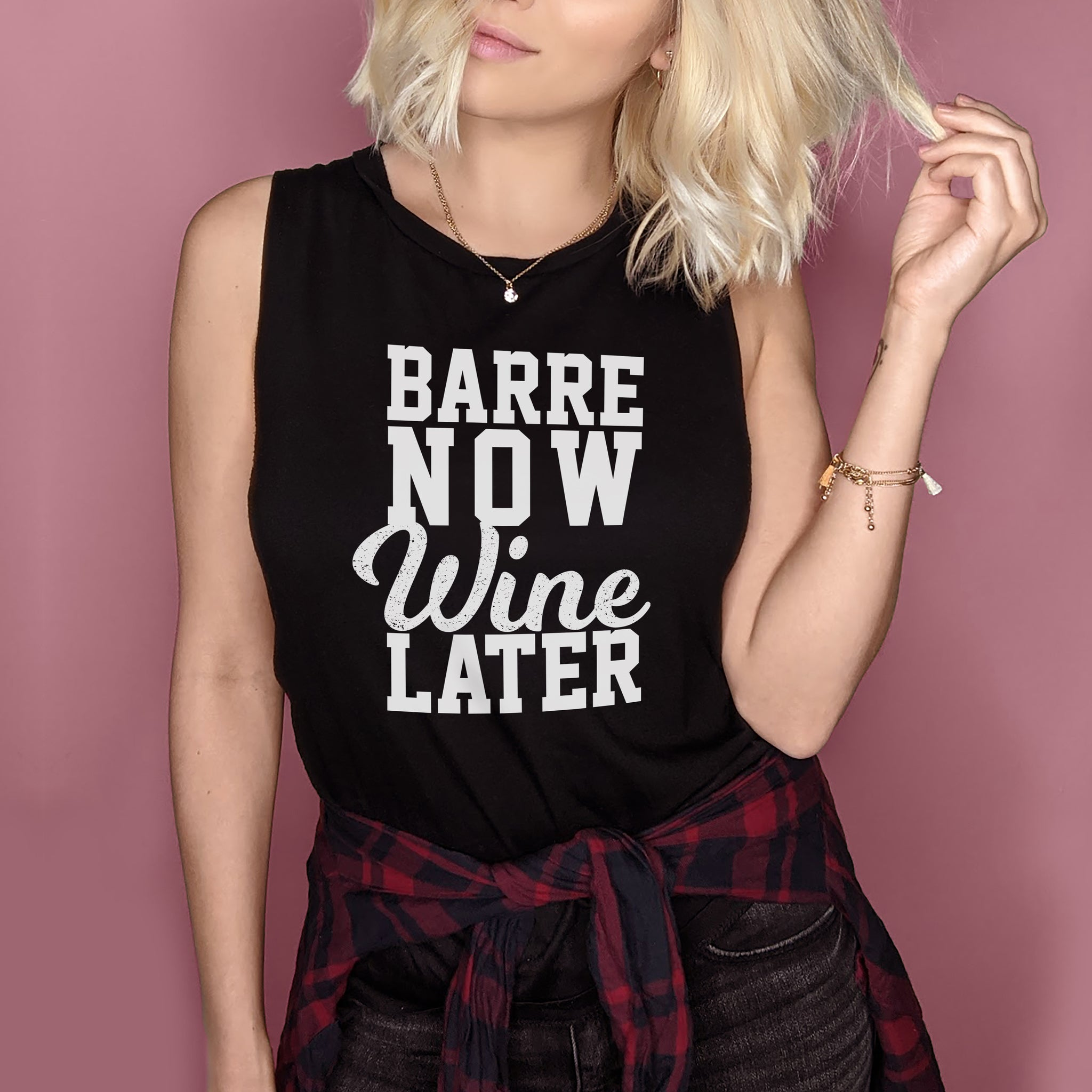Black muscle tank saying barre now wine later - HighCiti