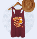 Maroon tank saying beer is like pouring smiles on your brain - HighCiti