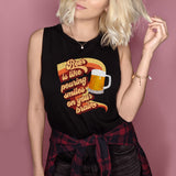 Black muscle tank saying beer is like pouring smiles on your brain - HighCiti