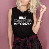 Black muscle tank saying best mother in the galaxy - HighCiti