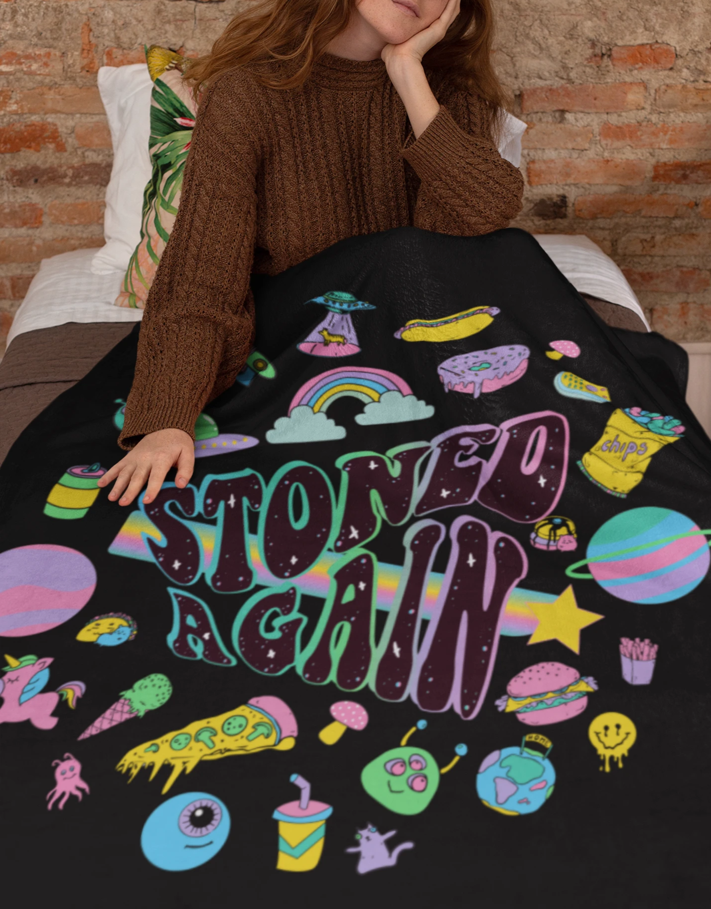 Black blanket with stoner weed art work saying stoned again - HighCiti