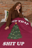 Maroon blanket with a christmas tree saying light that shit up - HighCiti
