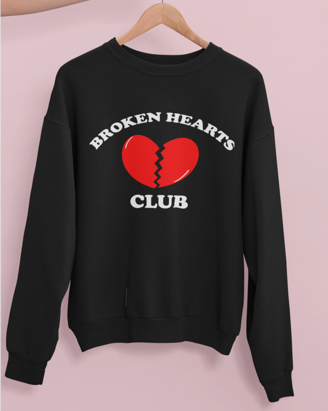 Black sweatshirt with a broken heart that says broken hearts club - HighCiti