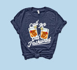 Heather navy shirt with old fashioned cocktail whiskey glass that says call me old fashioned - HighCiti