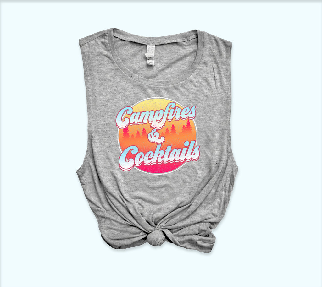 Campfires And Cocktails Muscle Tank - HighCiti