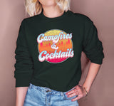 Forest sweatshirt with a retro graphic that says campfires and cocktails - HighCiti