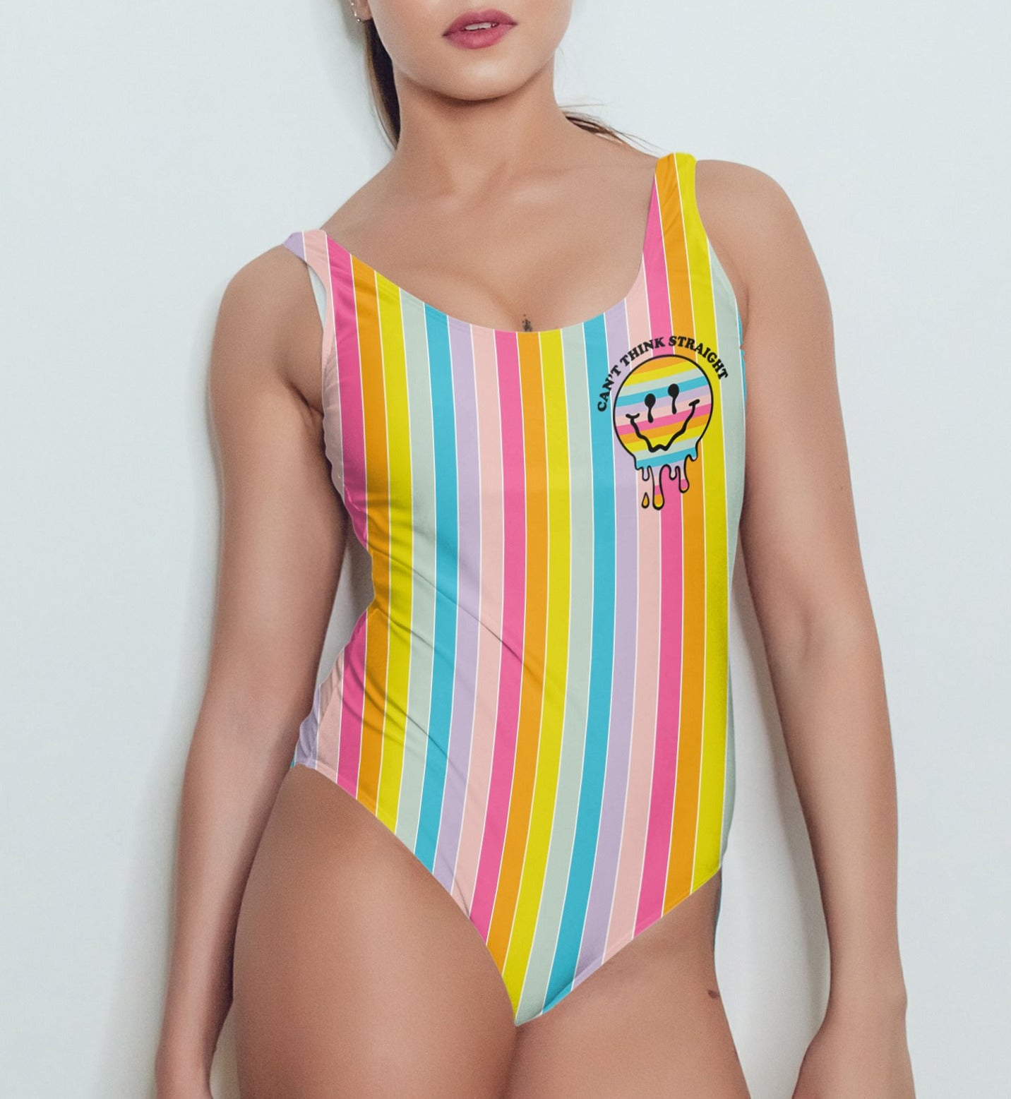 Rainbow stripes swimsuit with a melted smiley face saying can't think straight - HighCiti