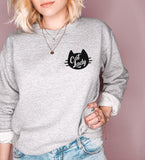 Grey sweatshirt with a cat saying cat lady - HighCiti