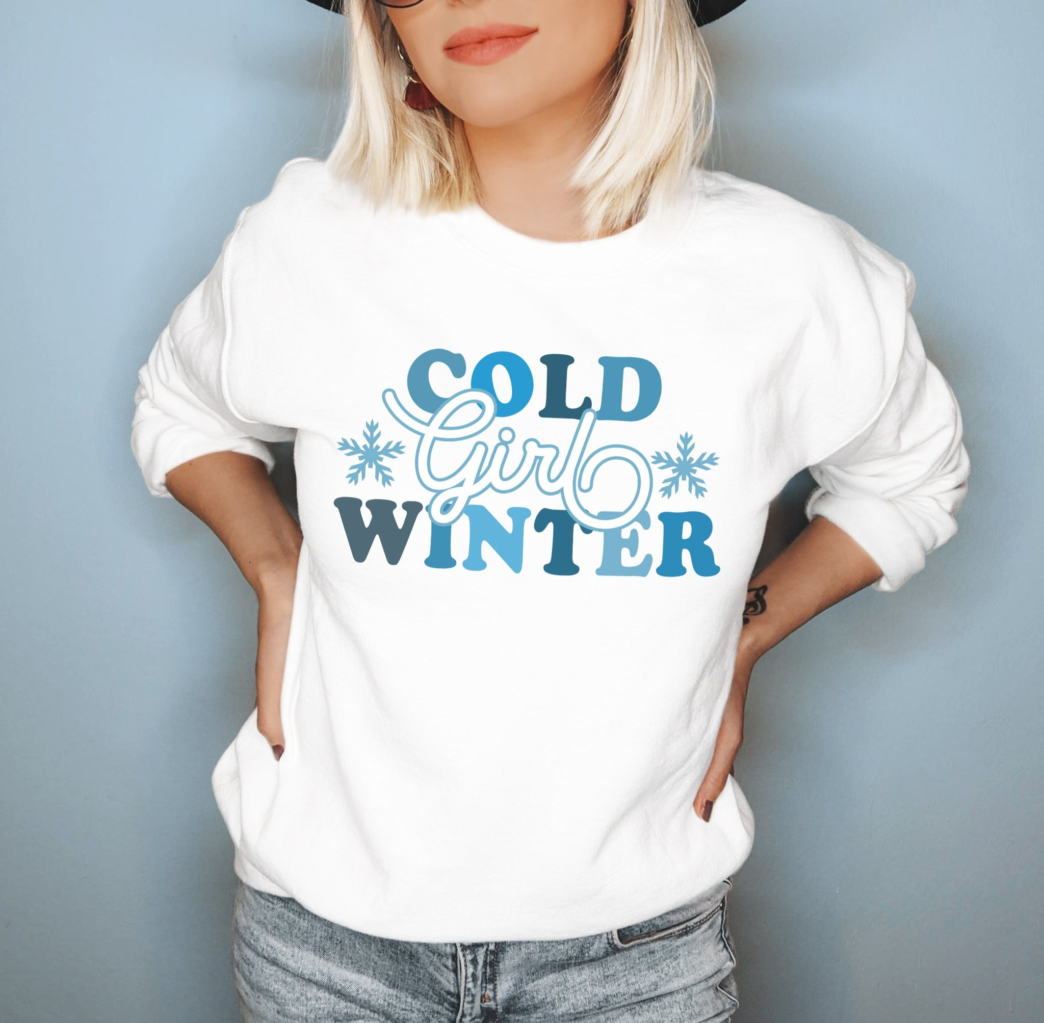 White sweatshirt with snowflakes that says cold girl winter - HighCiti