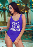 Royal blue swimsuit saying como estas bitches - HighCiti