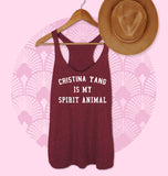 Maroon tank top saying cristina yang is my spirit animal - HighCiti