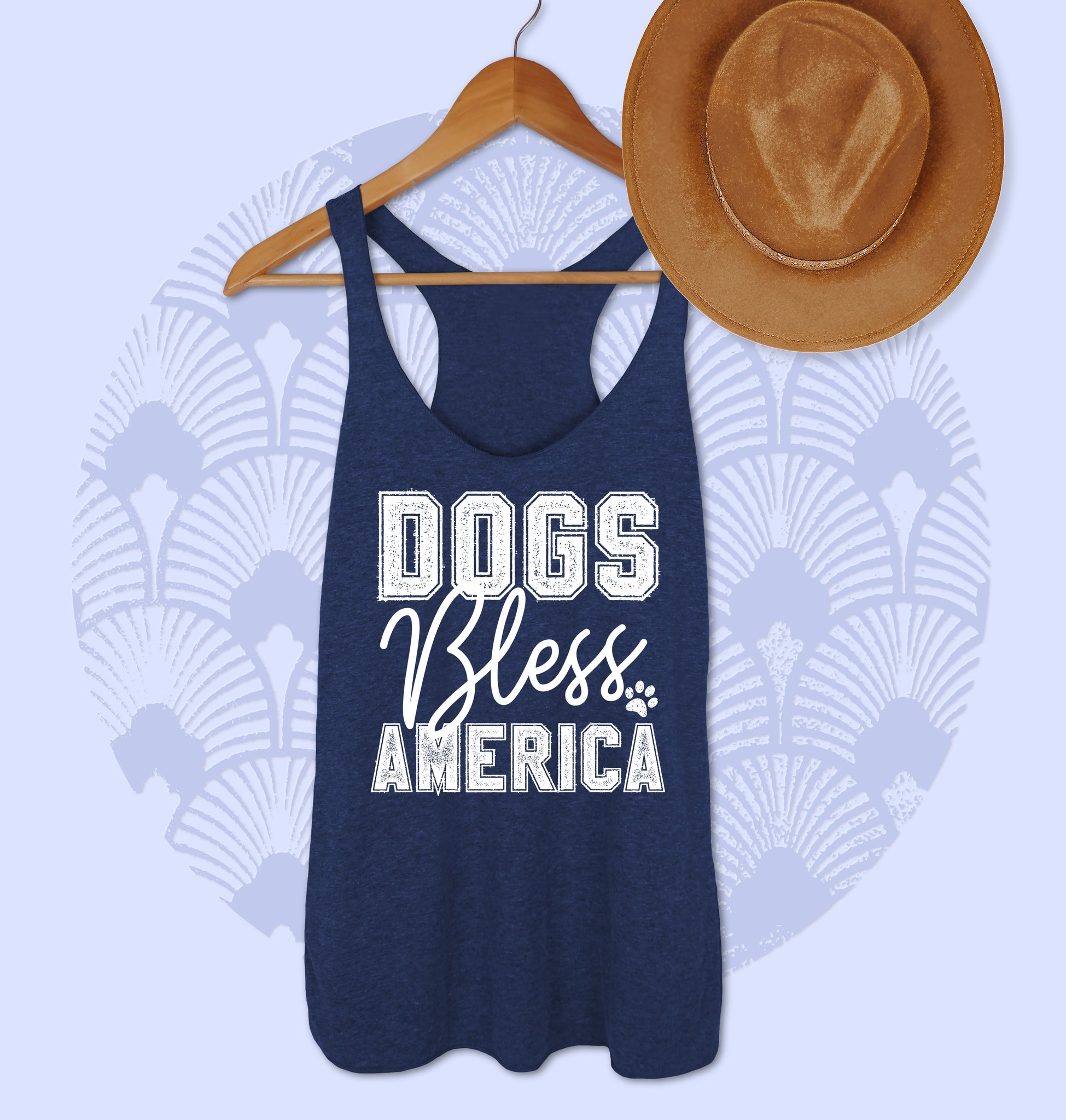 Navy tank top saying dogs bless america - HighCiti