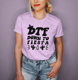 Heather lilac shirt with tequila and cactus that says down to fiesta - HighCiti