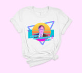 White t-shirt with dwight Schrute in colorful retro 80's style - HighCiti