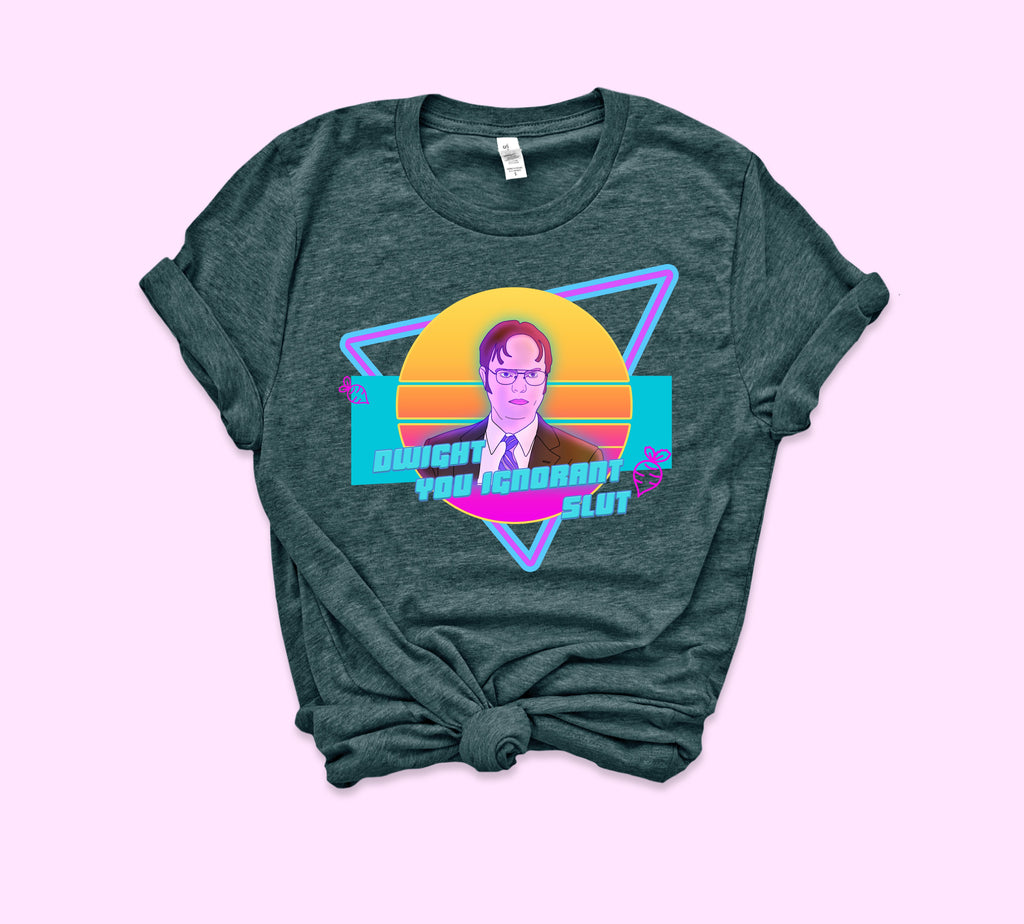 Heather forest t-shirt with dwight Schrute in colorful retro 80's style - HighCiti