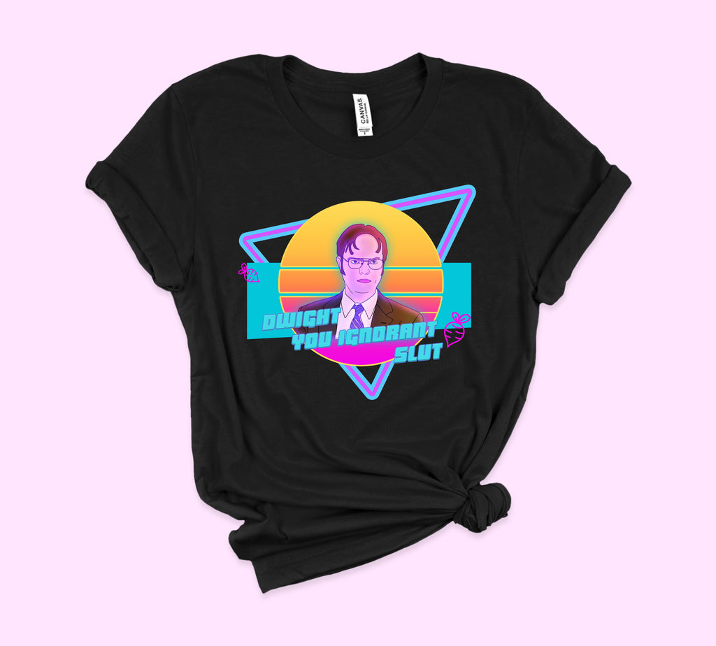 Black t-shirt with dwight Schrute in colorful retro 80's style - HighCiti