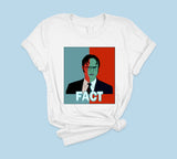 White t-shirt with red and blue dwight schrute 2020 - HighCiti