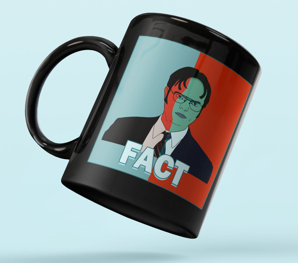 Black mug with red and blue dwight schrute 2020 - HighCiti