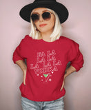 Red sweatshirt with a cocktail saying fa la la la la vodka - HighCiti